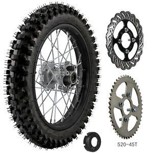 90/100-16 Rear Big wheel Rim 1.85x16 520-45T Sprocket Rotor For Pit Bike Offroad