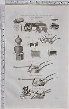 1788 ANTIQUE PRINT AGRICULTURE & HUSBANDRY VARIOUS HORSE PLOUGH HOE BEE HIVE