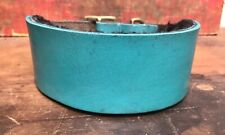"""Distressed Turquoise Blue English Hide Leather Lurcher Dog Collar16"""" - 20"""" Lined"""