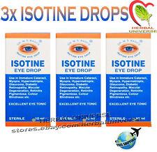 3x Isotine Eye Drop Blindness, Cataract, Myopia, Glaucoma, Retinopathy 10ml pack