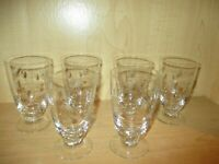 "6 Vintage Clear Etched Glass Footed Tumblers 5 1/4"" Flowers"