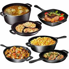 Pre Seasoned Cast Iron 6 Piece Bundle Gift Set, Camping Cookware Set