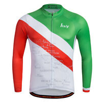 Italy Cycling Team Long Sleeve Jersey Men's Bike Bicycle Jersey Long Shirts