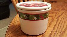 Longaberger 1 Pint Salt Crock & Coaster Lid Pottery Christmas Snowflake
