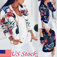 US Fashion Women Retro Floral Zipper Up Flight Bomber Jacket Casual Coat Outwear