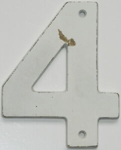 """5"""" Salvaged Solid Brass House Number Sign Four #4"""