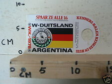 STICKER,DECAL WK ARGENTINA 1978 VOETBAL,SOCCER JH HENKES W-DUITSLAND GERMANY