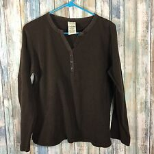 Women's Cabela's Brown Waffle Thermal Henley Shirt Size Large