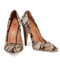 8e27c29b605 M Missoni Leather Metallic Crochet Knit Brown Gold Heels Pumps Size 35 5