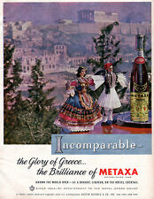 Metaxa Greek Liqueur DOLLS IN NATIONAL COSTUMES Athens Greece 1962 Magazine Ad