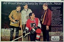 1968 Woolrich Wool Shirt Lou Angotti Philadelphia Flyers NHL Hockey Magazine AD