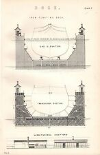 1880 PRINT IRON FLOATING DOCK END ELEVATION TRANSVERSE