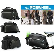 Black ROSWHEEL Bike Bicycle Seat Bag Rear Rack Pack Trunk Pannier Handbag