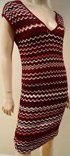 MISSONI LINDEX Burgundy Cream Pink Metallic Thread Short Sleeve Ribbed Dress S