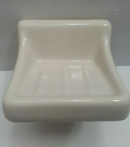 Ceramic Wall Mount Soap Dish Holder Tray Ivory With Gloss Vintage