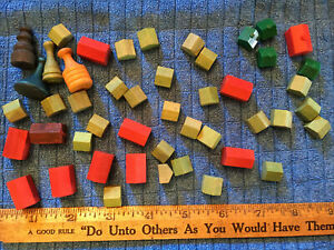 Vtg. Monopoly Wooden Replacement Pieces Tokens Hotels Houses + Other Wood Marker