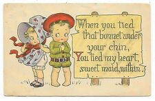 ANTIQUE ROMANTIC GREETINGS POSTCARD CHILDREN BOY RED CAP GIRL SUNBONNET 1915