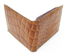 TAN LEATHER ALLIGATOR CROC PRINT MENS BIFOLD WALLET FLAP TOP USA Seller
