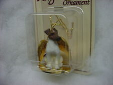 Fox Terrier brown white dog Angel Ornament Resin Figurine New Christmas puppy