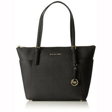 Michael Kors Jet Set Saffiano Black Leather Large Tote Handbag MK30F4GTTT9L