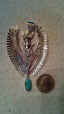 """NELSON MORGAN Kachina Eagle Pendant Pin Necklace Sterling Turquoise, 3 1/2"""", BIG"""