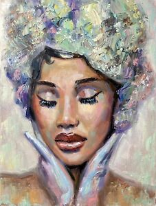 Cardi B queen portrait oil painting woman face art african american artwork