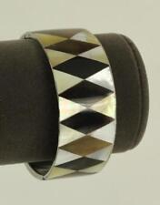 MODERN Ethnic Jewelry MOP Gemstone Horn Geometric Diamond Inlay BANGLE Bracelet