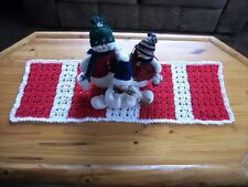 """SALE Christmas Table Runner Hand-Crocheted Candy Cane Striped Red & White 35"""""""