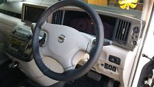FOR NISSAN ELGRAND E51 02-10 PERFORATED LEATHER STEERING WHEEL COVER GREY STITCH