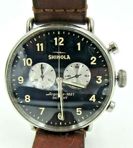 Mens Shinola Watch Canfield Argonite 5021 Chrono Watch Detroit w/ Leather Band