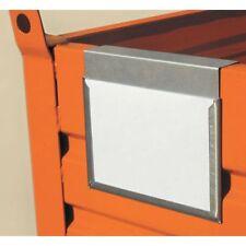 Porta etichetta per contenitori in lamiera, cassoni in metallo, pallet