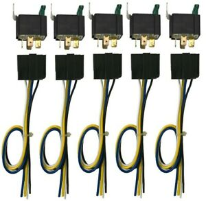 """(5) 4 Pin 12V Relay Switch 30 Amp Fuse W/ 12"""" Interconnecting 5 Wire Harness"""
