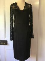 Mei Mei size 8 Long Sleeve Lace Bodice Black Sheath Dress fitted knee length pep