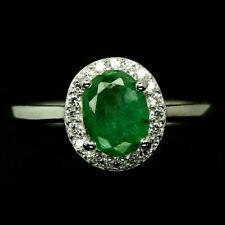 TOP EMERALD RING : Natürliche Grün Smaragd Ring Gr. 17,5 Sterlingsilber R268