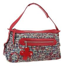 CHANEL Tweed Print Clover Charm Shoulder Bag Red Canvas AK25641j