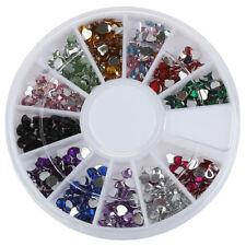 3000X 2mm 12 Color Nail Art Nailart Heart Shape Rhinestones Glitter Tips AD