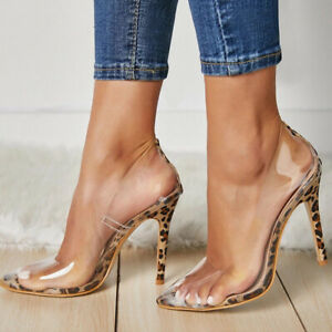 Lady Leopard Transparent Pointed Toe Stiletto High Heels Sexy Pumps Womens Shoes