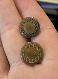 LOT of Two Vintage West Nelson Brass Buttons RARE