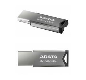 New ADATA 64GB UV350 Gray USB 3.2 Flash Pen Thumb Drive Genuine USA Seller