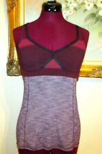 LULULEMON BORDEAUX/BURGUNDY ADJUSTABLE X BACK REMOVABLE PADS BRA TOP SZ 6 EUC