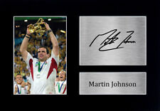 More details for martin johnson signed pre printed autograph a4 photo wall art gift for rugby fan
