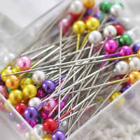 NEW 100pcs Glass Round Pearl Head DIY Crafts Pins Multicolor Sewing Needles Pins