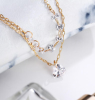 New Fashion 2 Layer Love Heart Crystal Gold Silver Women Gift Jewelry Bracelet