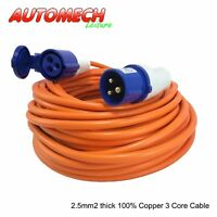 Quality 25 mtr Caravan Mains Cable/Lead + Fittings 16Amp/230V, 3 core 2.5mm²