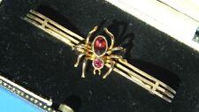 Antique Edwardian Almandine Garnet Rare Spider 9ct Rose Gold Brooch