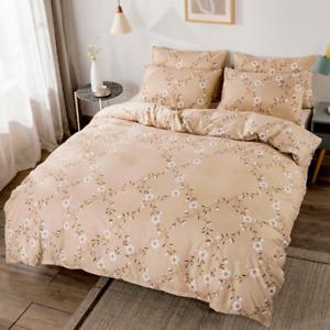 Bedding Set Floral Print Duvet Quilt Cover Pastoral Style Bedclothes Pillowcase