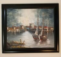 J. GATTUSO Oil Painting on CANVAS. Boats French Impressionist Framed & SIGNED