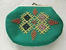 Bourse Vintage  Porte monnaie  vert brodée motifs geometriques
