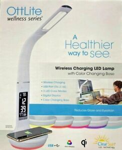 OttLite LED Desk Lamp with Clock and Wireless Charging Station (White)
