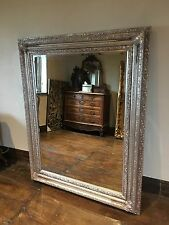 ANTIQUE SILVER GILT BOUDOIR LARGE LEANER DRESS WALL FRENCH WOOD MIRROR 6FT x 4FT